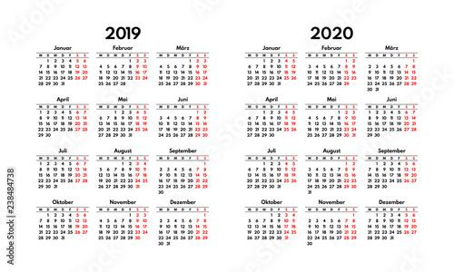 Weekend Calendar 2020 simple 2019 2020 german calendar grid, starts monday, two weekend