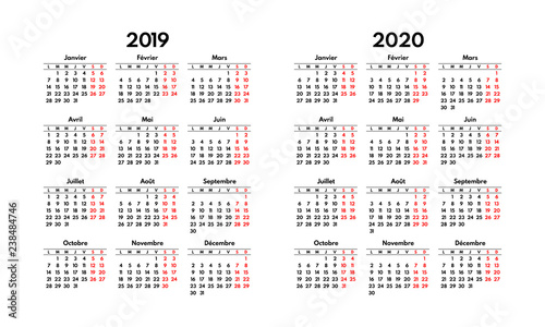 French Calendar 2020 simple 2019 2020 french calendar grid, starts monday, two weekend