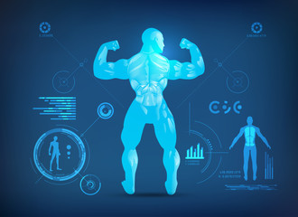 concept of sports science, muscle man posting for body analysis, a bodybuilder showing back muscles