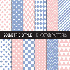Pink and Blue Geometric Vector Patterns. Chevron, Dots, Checks, Triangles, Stars & Stripes. Rose Quartz and Serenity Modern Party Decor Backgrounds. Repeating Pattern Tile Swatches Included.
