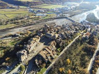 Aerial view of Ainsa. Medieval village of Huesca, Spain. Drone Photo