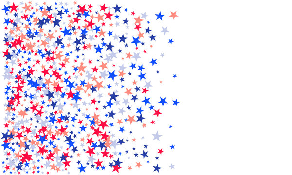 American patriotic stars and stripes pattern in bright red, blue and white. Independence day vector background.