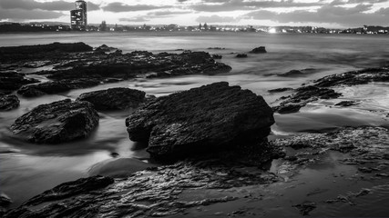 Black and White Sunset Sunrise Ocean Long Exposure Currumbin beach Wave Background Wide angle pano Rocks