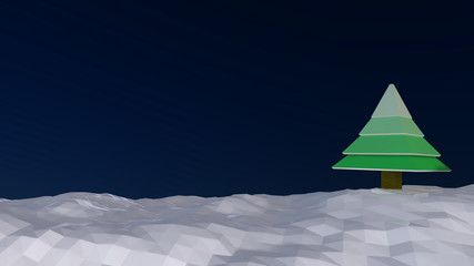 Polygonal night with snow and green christmas tree