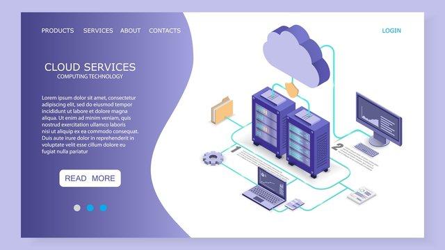 Cloud services landing page website vector template