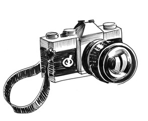 Retro camera on white background. Ink black and white drawing