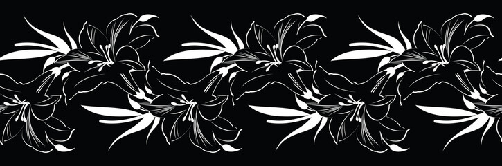 Seamless black white shoe flower border