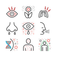Allergy symptoms line icons infographic. Vector sign for web graphic.