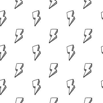 Handdrawn 3D lightning doodle icon. Hand drawn black sketch. Sign symbol. Decoration element. White background. Isolated. Flat design. Vector illustration