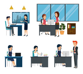 businesswomen and businessmen office business technology