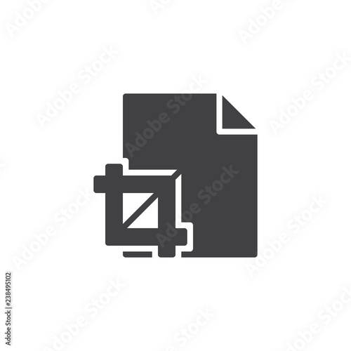 Crop tool file vector icon  filled flat sign for mobile