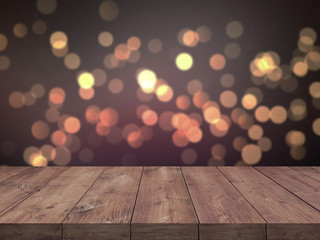 Christmas holiday background with empty wooden table top over festive bokeh light decorat