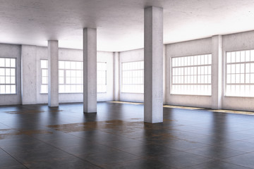 The interior of a large room with columns. 3D illustration.