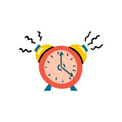 Vector illustration with red alarm clock icon