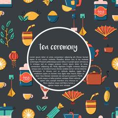 Vector cartoon tea ceremony background