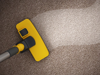 Vacuum cleaner cleaning dirty carpet. 3D illustration