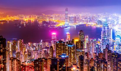 Hong Kong Skyline and City Nightscape