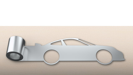 Metal roller sheet in sport car shape, energy saving concept