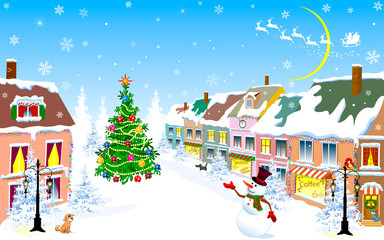 City, Christmas, winter, snowman, Christmas night