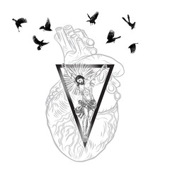 Jesus Christ on sacred geometry triangle tattoo with silver beams background and sacred heart. Birds flock flying around. Symbol of Christianity prayer, religion. Mystical spiritual secrets. Vector.
