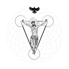 Jesus Christ modern interpretation of crucifixion with bird fly over his head. Symbol of saint with holy spirit. Crucifix drawing. Art tattoo reference. Religion pride and glory. Good Friday Vector.