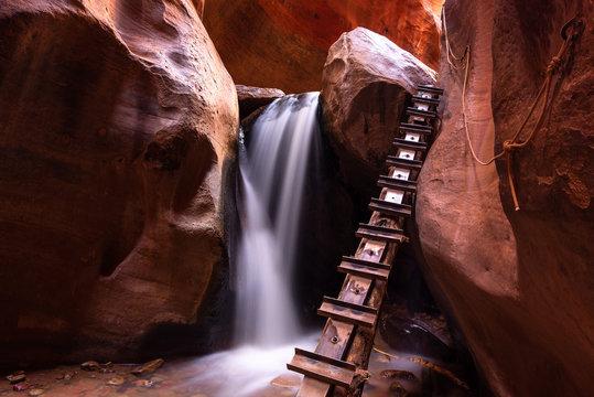 Waterfall at Kanarra creek slot canyon in Zion national park, Utah, USA