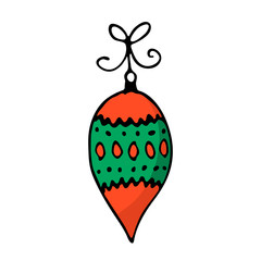 Doodle color Christmas icon. Cute hand drawn design element for you. Merry Christmas and New Year symbols, lettering. Vector illustration