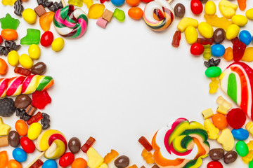 Frame of colorful bright assorted candy