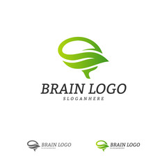 Nature Brain Logo Vector Template. Brain Mind with Leaf Logo Concepts