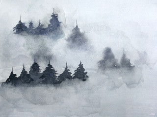watercolor ink landscape  tree pine  mountain fog. traditional oriental ink asia art style.hand drawn on paper.