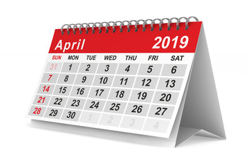 2019 year. Calendar for April. Isolated 3D illustration Wall mural