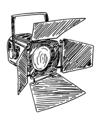 Spotlight sketch style. Searchlight used in theater and film industry.