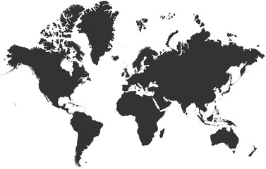 Black blank vector silhouette world map | High detail flat earth template illustration isolated on white background | High resolution contour in Mercator projection