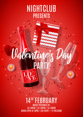 Happy Valentine's Day party flyer. Vector illustration with top view on realistic bottle of champagne, gift box, glasses of champagne, red serpentine and confetti. Invitation to nightclub.