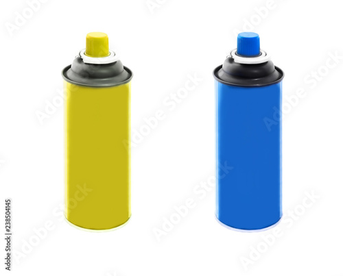 Set of spray paint cans yellow and blue colors isolated on white