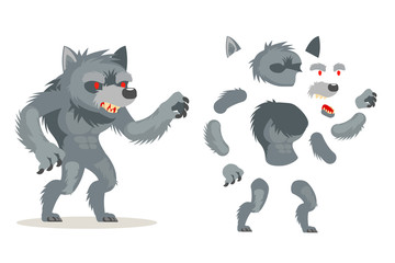 Wolf werewolf monster fantasy medieval action RPG game character layered animation ready character vector illustration