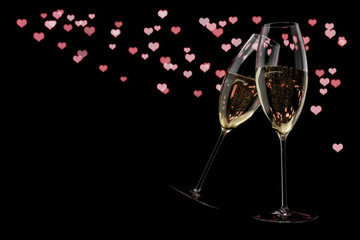 champagne glasses Valentine's Day clink glasses