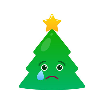 Melancholy christmas tree isolated emoticon. Crying green fir tree with decoration emoji. Merry Christmas and happy new year vector element. Yearning face with facial expression. Winter holidays sign
