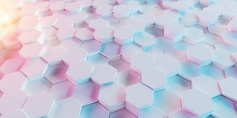 White blue and pink hexagons background pattern 3D rendering