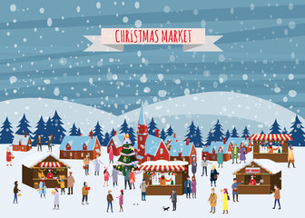 Christmas market or holiday outdoor fair on town square. People walking between decorated stalls, canopy or kiosks, buying snacks,gifts, decoration and drinking hot coffe, tea and mulled wine