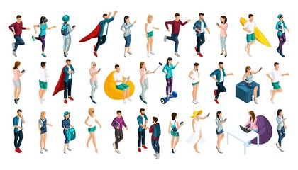 Isometrics set of vector characters in different poses, 3d teenagers, men and girls, doing different actions. Set of people for Vector illustrations