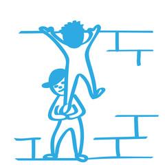 Handgezeichnete Männchen klettern über Mauer in blau