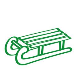 Handgezeichneter Schlitten in grün