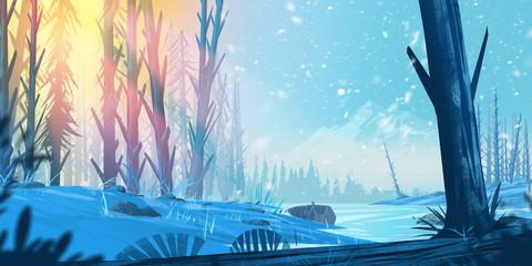 Wonderful Fantasy Forest. Fiction Backdrop. Concept Art. Realistic Illustration. Video Game Digital CG Artwork. Nature Scenery.