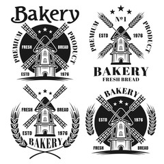 Bakery set of four vector emblems with windmill