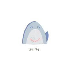 Vector hand drawn emoji. Cute shark smile with emotions. Smile