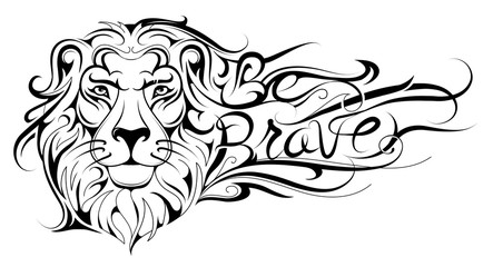 Be brave lettering Lion tattoo