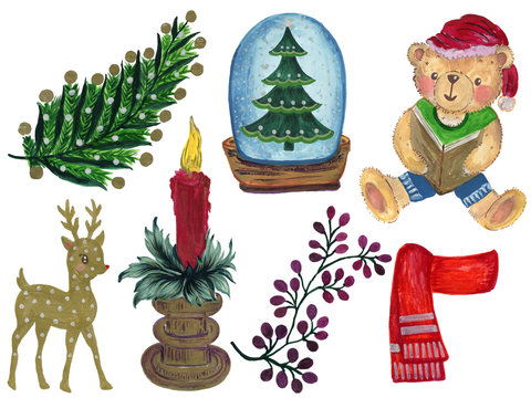 Watercolor Gouache Christmas collection of decorative winter elements Hand painted