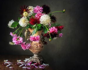 Still life with beautiful autumn bouquet  of dahlia