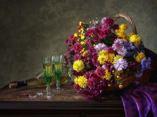 Still life with beautiful bouquet of multicolored chrysanthemums